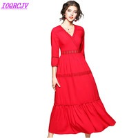 2018 Fashion Women Spring Long section Dress Solid color Lace Red Big swing Dress Slim Female White Stitching Dress IOQRCJV Q021