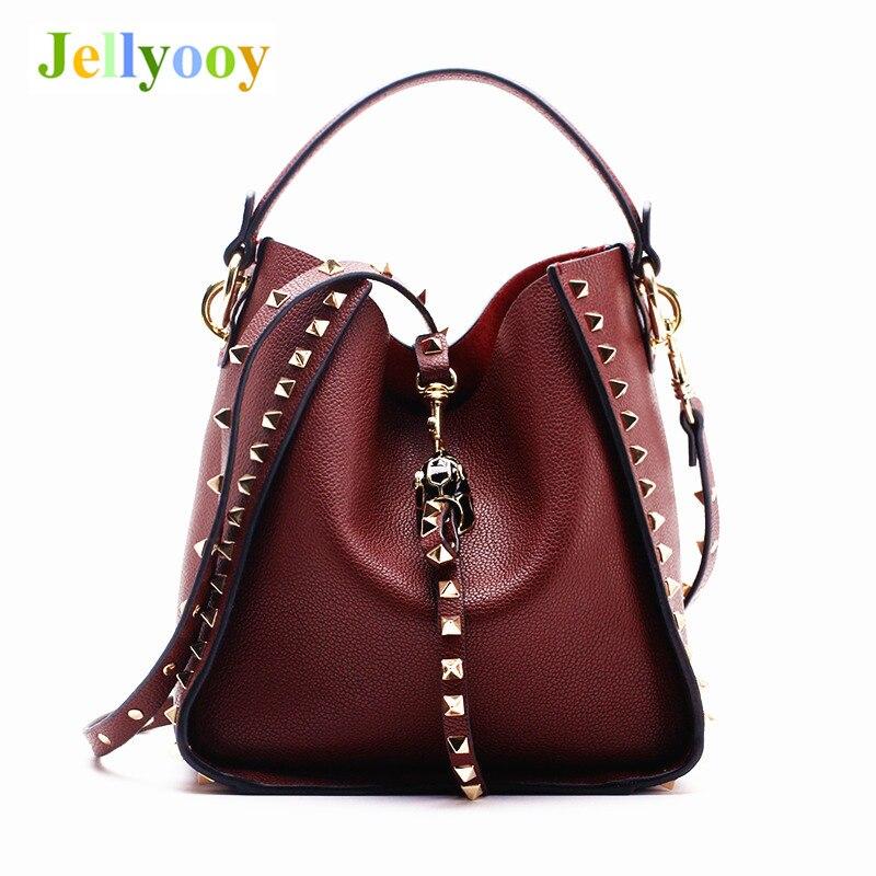 Soft Genuine Cow Leather Bag Women Shoulder Bags Female Gold Rivet Designer Crossbody Bag Women's Vintage Metal Bucket Handbag