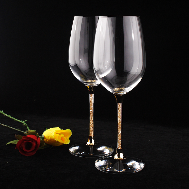 set glass champagne top grade crystal rhinestones 2 pieces one pair 626ml wine goblet with gold color stem wholesale glassware