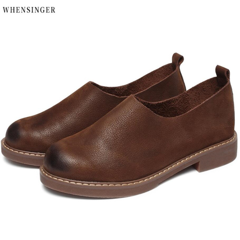 Whensinger -Shoes Woman Genuine Leather Women's Flat Shoes Casual Loafers Slip On Shoes Flats Soft Moccasins Lady Driving Shoes new handmade casual shoes men high quality genuine leather soft loafers moccasins slip on male flats driving shoes lazy slippers