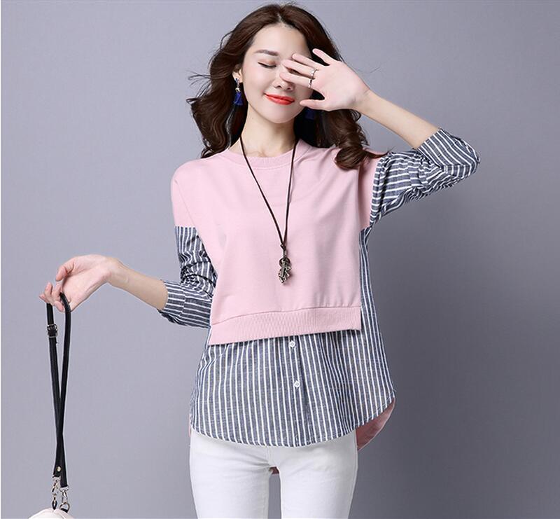 HTB1f1 6QXXXXXahXVXXq6xXFXXX6 - 2017 Spring Blouses Shirt Female Long Sleeve Casual Striped
