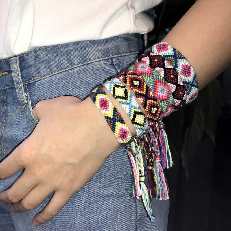 Mcllroy カラフルな編組ブレスレット腕輪カップルジュエリーエスニック音楽祭ためのギフトのブレスレット男性女性のファッションジュエリー