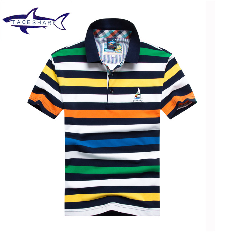 2017 Summer style   polo   shirt men casual camisa   polo   wear brand Tace & Shark   polo   men cotton striped short sleeve   polo   shirt