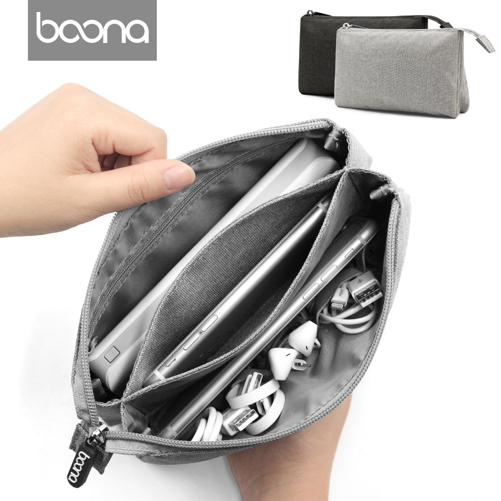 где купить Boona Fake Linen Oxford Electronic Accessories Cable USB Hard Drive Organizer Bag Portable Storage Case New дешево