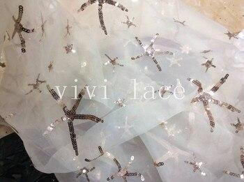 للبيع 5 ياردة fj039 نجمة paillette الترتر التطريز الأبيض تول شبكة الدانتيل الأفريقي لفستان الزفاف/مساء اللباس ، السفينة بواسطة dhl