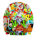 Hot 2016 Cartoon 3D Hoodies Super Mario Drugs Weed Pills Printed Sweatshirts Crewneck Long Sleeve Men Pullovers  Plus Size 5XL