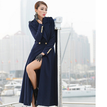 Nice New Winter Coats women's Fashion turn-down Collar Woolen Long Double Breasted Overcoat Outerwear Clothing Plus Size S2414