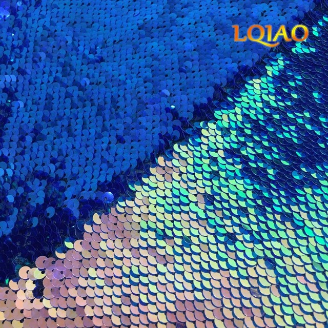 Fluorescence Gold Dark Blue Reversible Sequin Fabric By The Yard