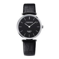 CHENXI Black Ultra Thin Genuine Leather Dress Quartz Wristwatches Wrist Watch Clock For Men Women Lovers