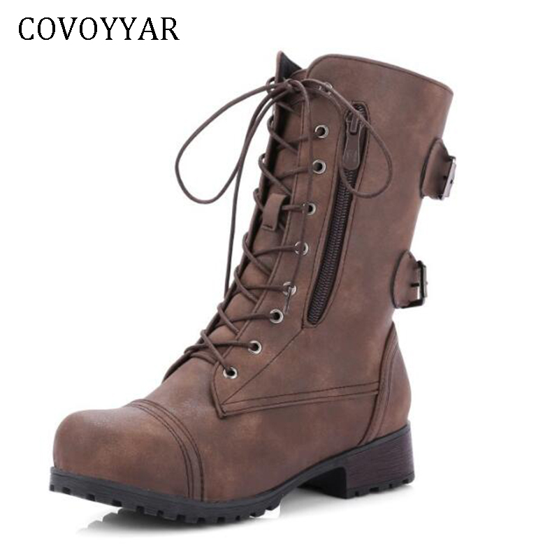 COVOYYAR 2019 Autumn Winter Women Boots Punk Side Zipper Buckle Lace Up Mid-calf Boots Motorcycle Platform Boots Big Size WBS412COVOYYAR 2019 Autumn Winter Women Boots Punk Side Zipper Buckle Lace Up Mid-calf Boots Motorcycle Platform Boots Big Size WBS412