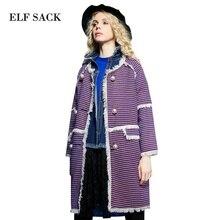 Elf SACK grass p taste of autumn female vintage pearl button flash wool coat outerwear female long design