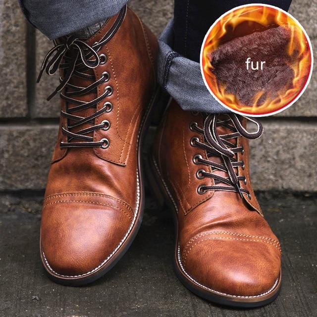 Masorini 남자 pu 가죽 레이스 업 남자 신발 고품질 남자 빈티지 영국 군사 부츠 가을 겨울 플러스 크기 BRM-060