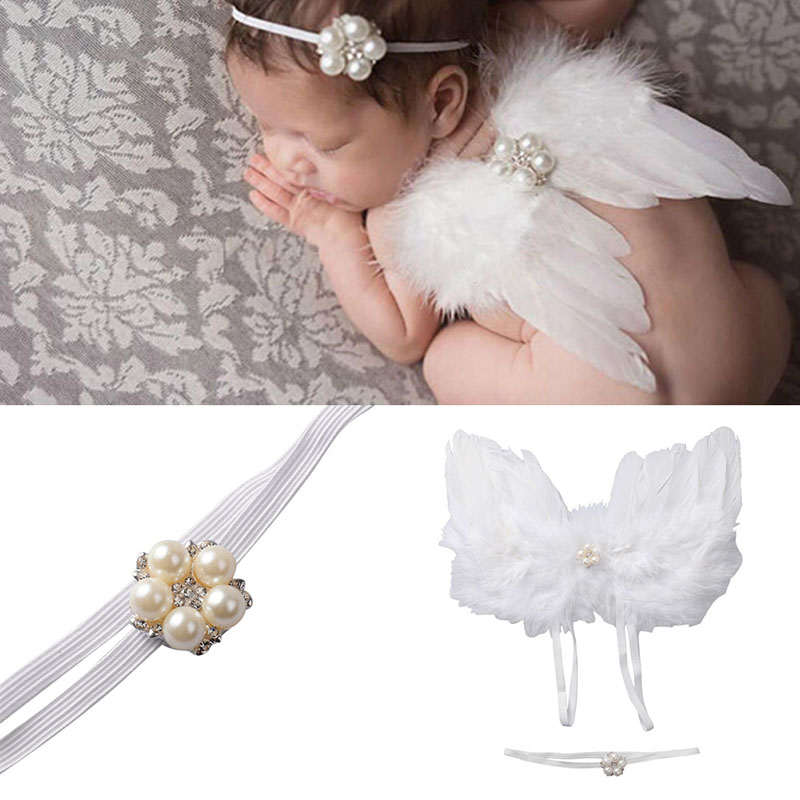 Baby Girls Newborn Angel Wings Headband+Tutu Skirt Costume Photo Prop Outfit Lovely Set