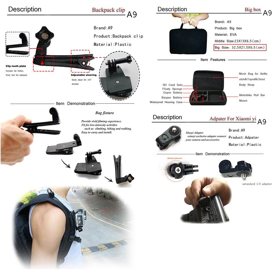 A9 Para Gopro set de accesorios go pro kit mount SJCAM Xiaomi Yi para - Cámara y foto - foto 3