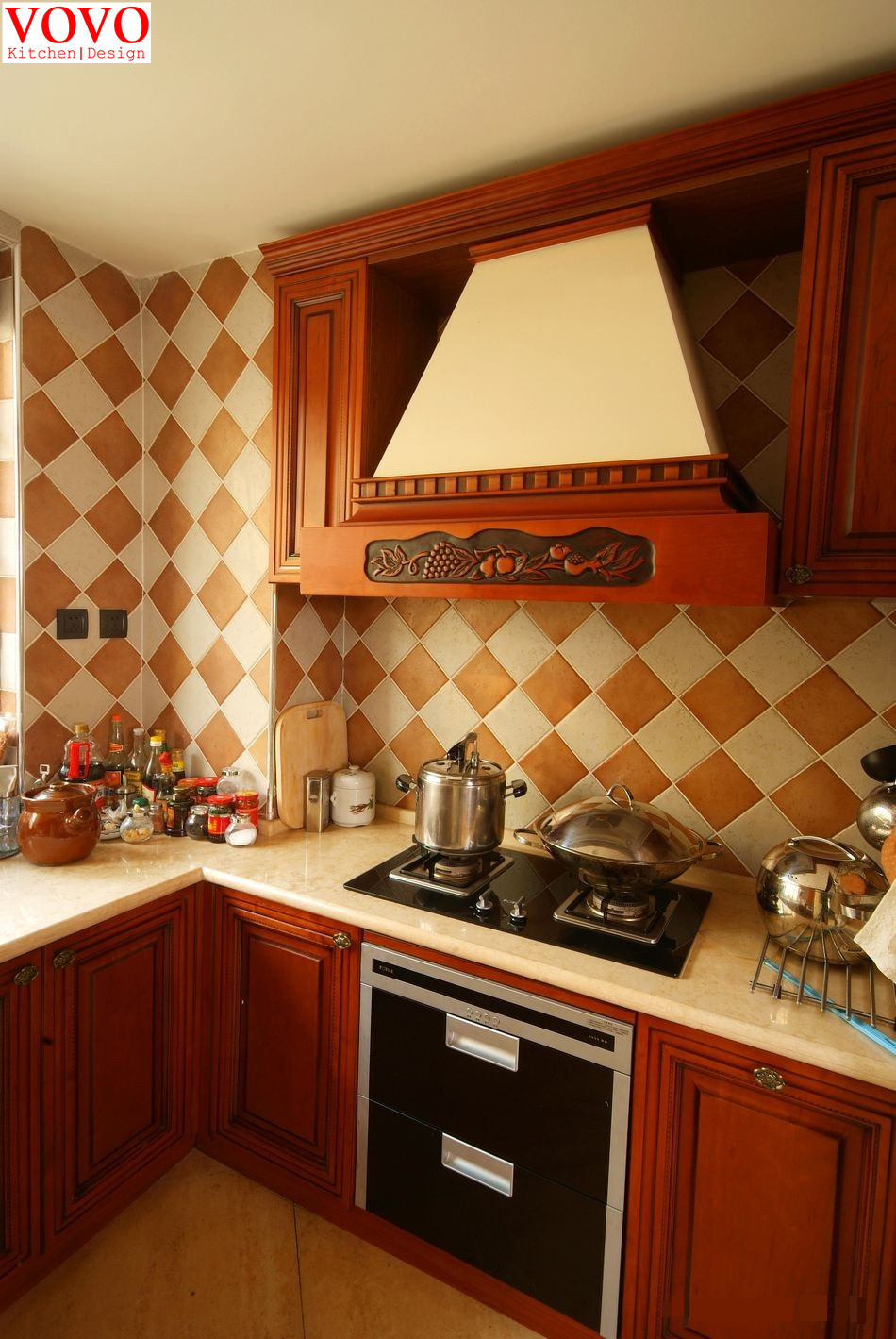 Red Glass Mosaic Tile Backsplash with Red Cherry Cabinets ... |Red Cherry Kitchen Cabinets