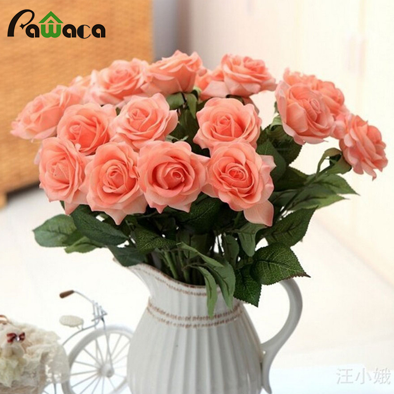 10pcs Real Touch Artificial Flower Bouquets Silk Rose Flower Wedding Decoration Fake Flower Elegant Decorative Flowers For Home  fake rose flowers