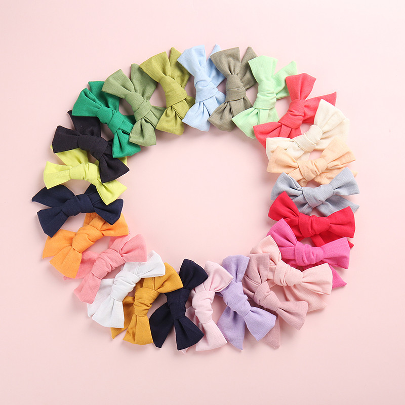 24pcs/lot New Fashion Knot Bows Solid Cotton Hairpins,One Size Fit Most Kids Girls Linen Hair Clips,School Girl Hair Accessories