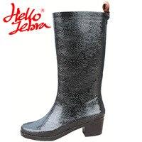 Hellozebra Women Rain Boots Lady High shoes platform boots Low Heels Waterproof Buckle Polka Dot Wearresisting 2017 New Fashion