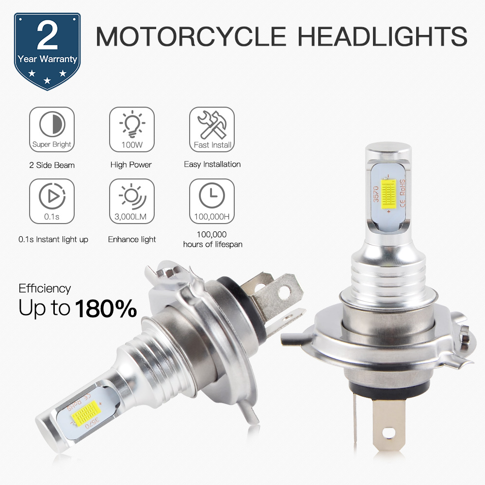 NICECNC <font><b>LED</b></font> <font><b>Headlight</b></font> Bulbs For <font><b>Yamaha</b></font> <font><b>R1</b></font> R6 WR250R 250F 400F WR426F WR450F XT225 XT250 YW125 Zuma XP500 TMAX TW200 image