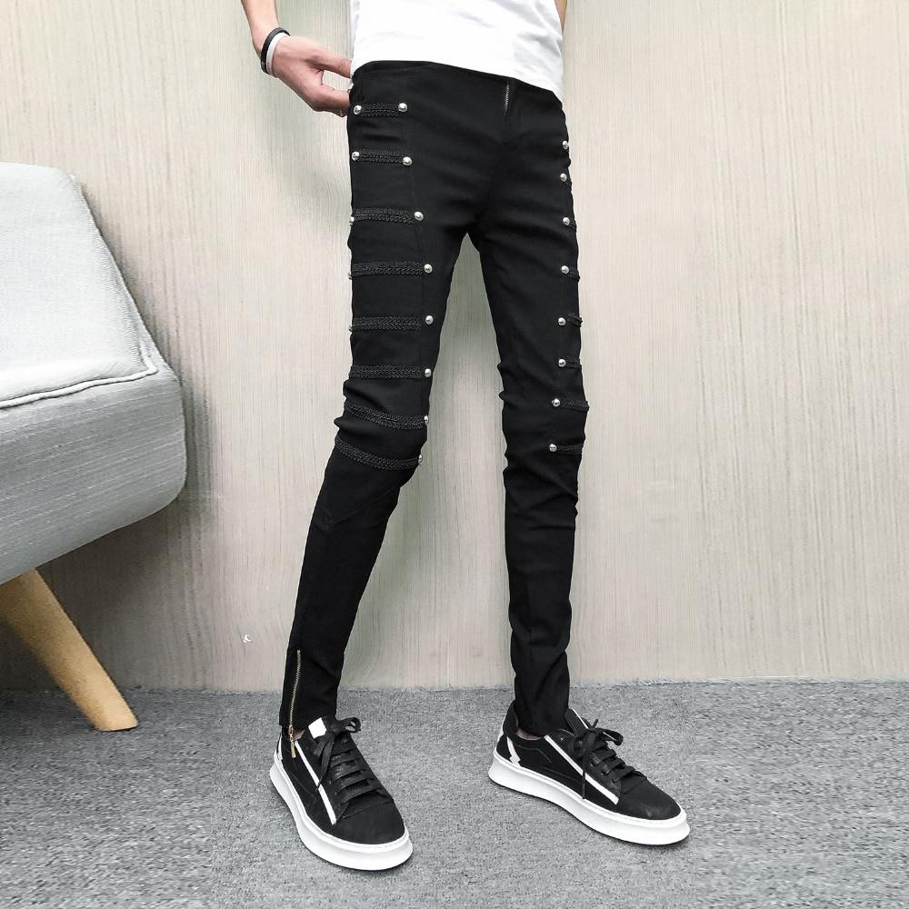 Korean Summer Pants Men Brand New Streetwear Rivets Men Harem Pants Hip Hop Slim Fit Punk Trousers Men Clothes 2019 28-34