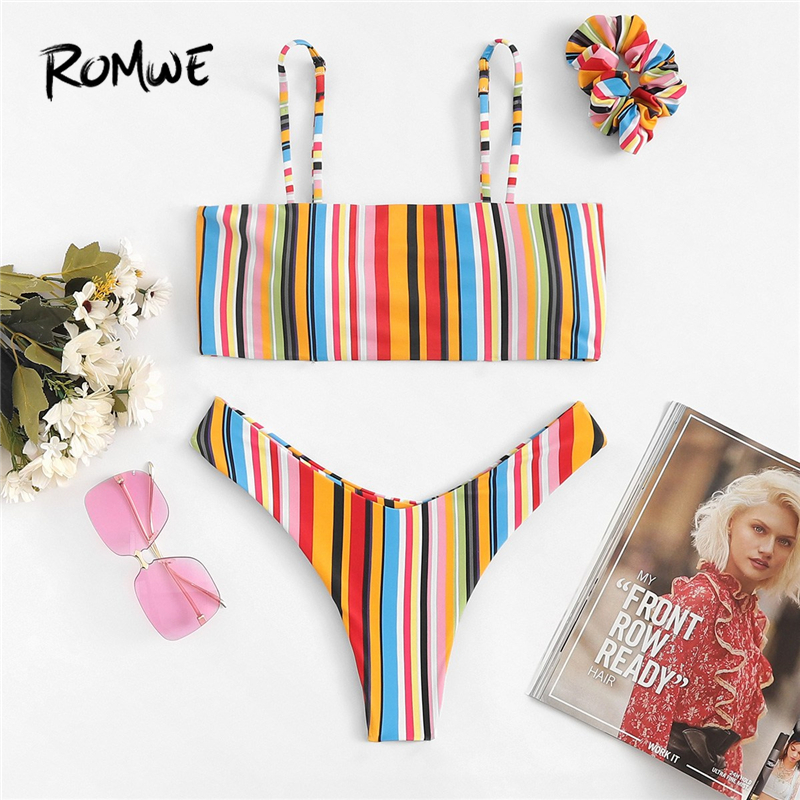 Romwe Sport Rainbow Striped Print Cami Top With High Cut Bottoms Bikinis Set Women Summer Vacation Wire Free Sexy Swimwear