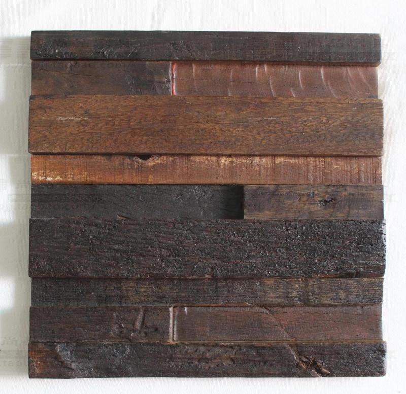 Wood Tile Kitchen Backsplash: Strip 3D Natural Wood Mosaic Tile Kitchen Backsplash Tile