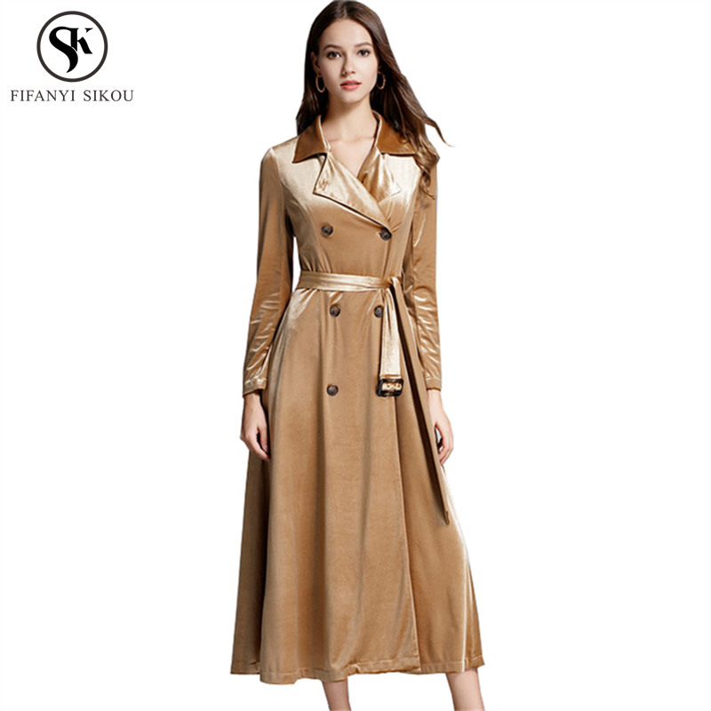 2018 Autumn Winter High end Gold Velour Trench coat women Fashion Slim Double Breasted Long coat