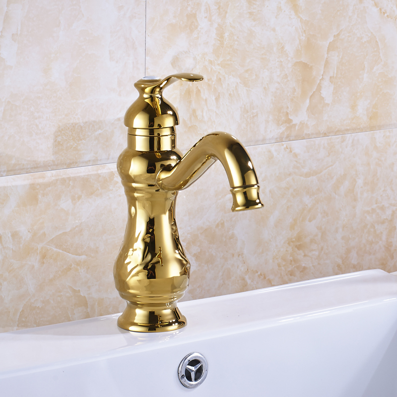 ФОТО Wholesale and Retal Bathroom Sink Faucet Single Handle Mixer Tap Golden Deck Mounted
