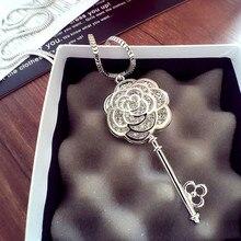 N56 и глубоким вырезом, декорированные цветками камелии, известный Элитный бренд Шарм ювелирные изделия колье женский свитер ожерелье на длинной цепочке для Для женщин