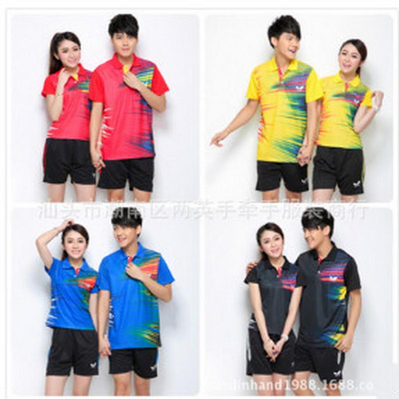 Prix pour Tennis De Table Vêtements 2017 Nouveaux Vêtements de Badminton Costume Couple Séchage rapide D'été De Tennis Vêtements De Tennis Sport Chemise