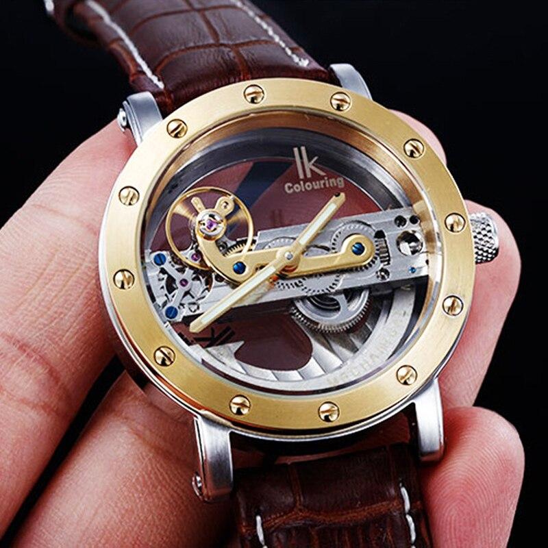5ATM 防水自動ダイビング時計男性ゴールド透明機械式時計フライングトゥールビヨン腕時計メンズ腕時計  グループ上の 腕時計 からの 機械式時計 の中 1