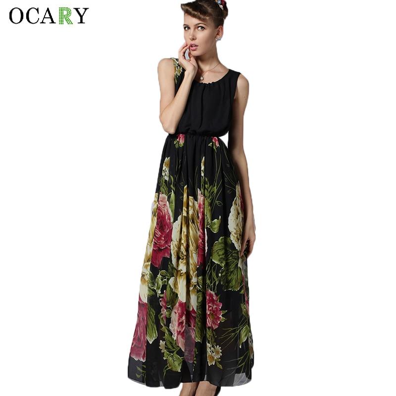 f9459a314 Manera de la Impresión Floral Para Mujer Vestidos Largos Maxi Bohemio  Vestido de Gasa 2016 Vestidos de Fiesta Informal de Verano Negro Más Tamaño  XL en ...