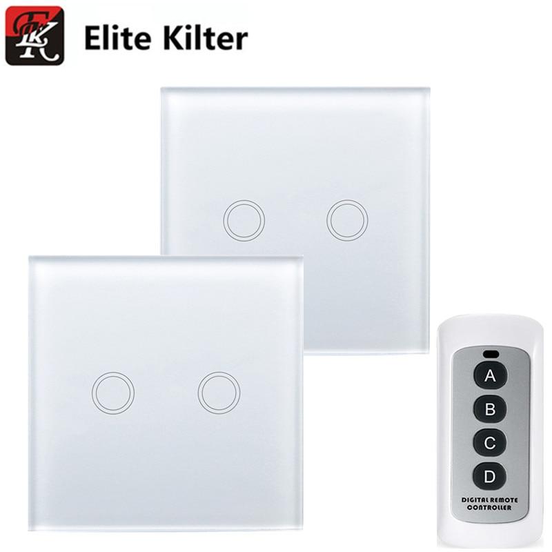 Elite беспорядке ЕС/UK Стандартный 2 gang 2 способа сенсорный выключатель один firewire с большой контроллер