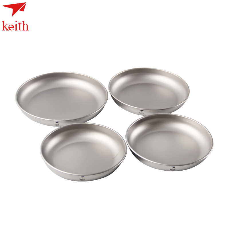 Keith Titanium 4pcs Outdoor Plates Tableware Camping Dishes Set Travelling Ultralight Series Of Ti5373 In Tablewares From Sports