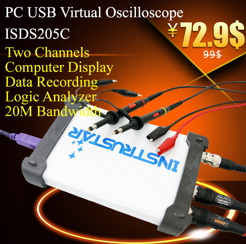 ISDS205C Virtual PC USB oscilloscope 48M sample rate 20M Bandwith with logic analyzer маска для глаз algologie 24539 сияние