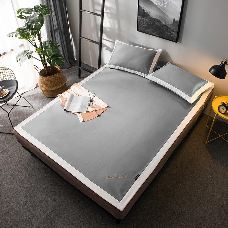 5D ice Cool été argent mat kit lit de couchage ensemble de draps broder drap housse solide matelas couverture 150*200 couvre-lit 3 pièces/ensemble