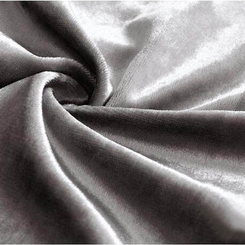 Honey Velvet Luxury Polyester Fabric Window Curtains Shiny Face Black Out Blinds Custom Size For Living Room Silver Grey Color