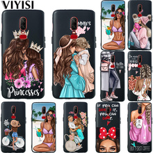 Princess Queen Mom Baby Girl Phone Case For Oneplus 6T 6 5 5T Coque Fundas Etui Black TPU Solicone Carcasas Cover Summer