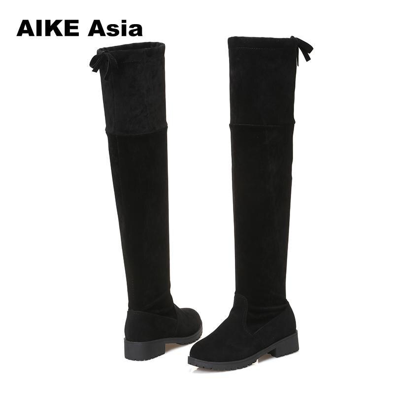 2018 nueva caliente mujeres botas Otoño Invierno moda botas planas botas zapatos sobre la rodilla del muslo de alta Suede largo botas #740