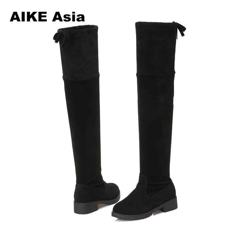 2020 Mới Nóng Giày Bốt Nữ Thu Đông Thời Trang Nữ Đáy Phẳng Giày Boots Qua Đầu Gối Bằng Da Lộn Cao Cấp 1 dài Giày #740