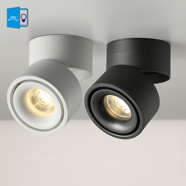 [DBF]White/Black No-Cut Surface Mounted Ceiling Downlight 7W 10W 12W 15W LED Ceiling Spot Light for Kitchen Living room Decor