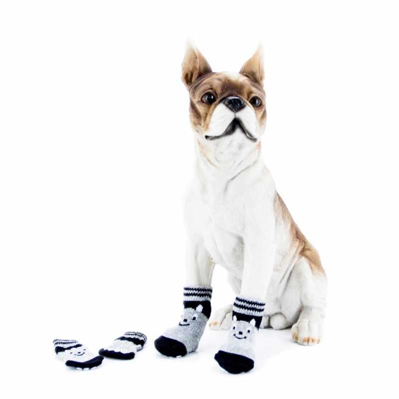 4 stks/set Pet Puppy Zachte Warme Sokken Laarzen Winter Canvas Schoenen Kleine Honden Sokken Levert Laarzen