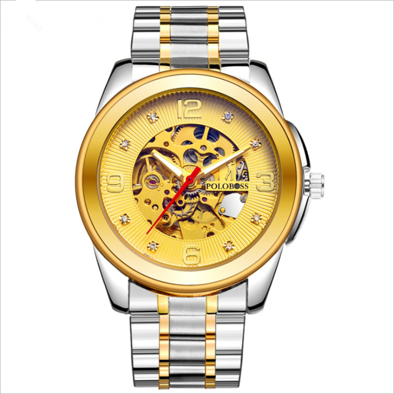 Leisure watch men's mechanical watch, fully automatic waterproof and hollowed-out precision steel belt, fashion, fashion, fashio miracle moment fashion stylelish mens womens unique hollowed out triangular dial black fashion watch ag3