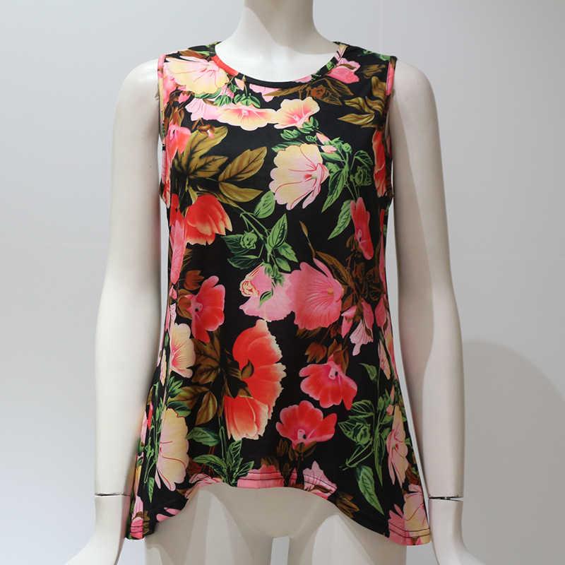 2019 קיץ ללא שרוולים נשים חולצות וחולצות פרחוני הדפסה מקרית חולצה גבירותיי O-צוואר Loose חולצת Boho טוניקת Chemisier Femme