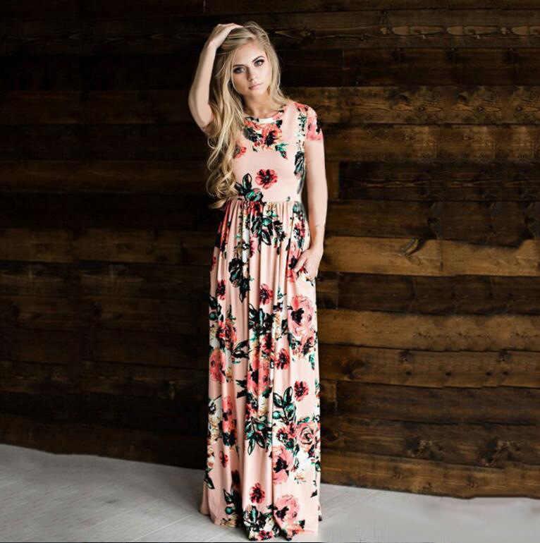 02656e78140 ... AVODOVAMA M 2018 Летнее Длинное платье короткий рукав цветочный принт  для женщин Вечеринка платья для богемный ...
