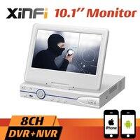 10,1 ЖК монитор CCTV 8CH HVR 1080 P рекордер DVR, HDMI выход 8CH AHD/CVI/TVI 16CH ip камера для записи видео по сети Поддержка удаленного просмотра Onvif