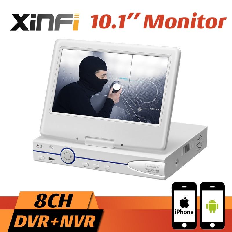 10.1 LCD Monitor CCTV 8CH HVR 1080P Recorder DVR HDMI Output 8CH AHD/CVI/TVI 16CH IP Camera NVR Support Remote View Onvif