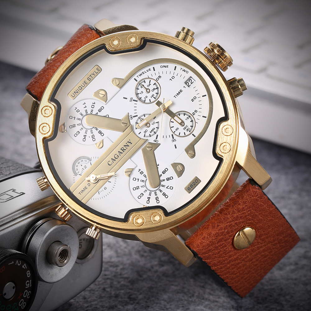 2019 drop shipping top luxury brand cagarny mens watches leather strap big case gold black silver dz military Relogio Masculino male clock man hour (39)