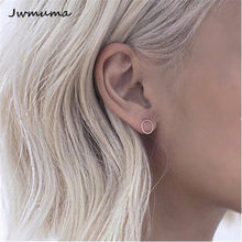 New Minimalist Spiral Circle Earrings Women's Gold and Silver Metal Stud Earrings Temperament Jewelry for Women Friend Gift(China)