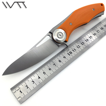 WTT Orange Black G10 Handle Flipper Folding knife With Ball Bearing D2 Blade Tactical Pocket Knife Hunt Camping knives EDC tools
